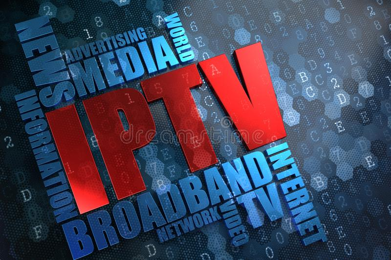 IPTV. Wordcloud Concept. IPTV - Wordcloud Concept. The Word in Red Color, Surrounded by a Cloud of Blue Words stock images