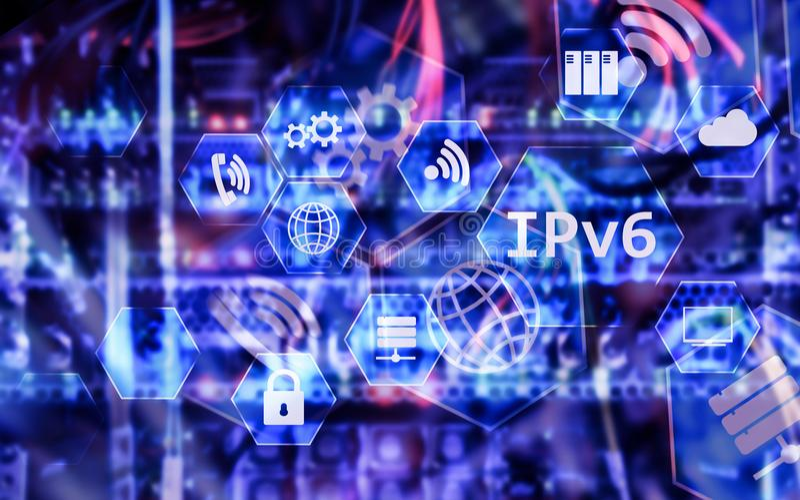 Ipv6 Netztechnikkonzept auf Serverraumhintergrund stock abbildung