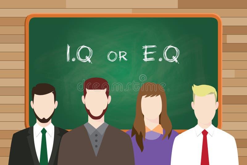 Iq или eq интеллектуальные или против эмоционального вопроса сравнивают пишут на доске перед бизнесменом и бизнес-леди стоковое изображение rf