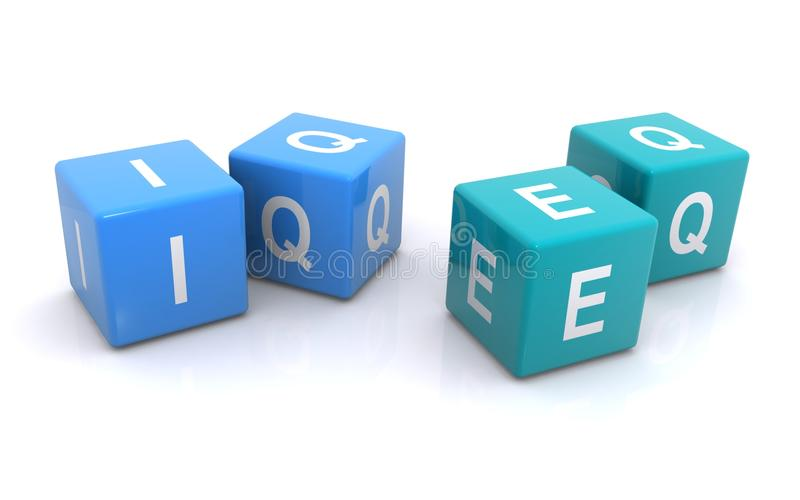 IQ and EQ Cubes. IQ - Intelligence Quotient and EQ - Emotional Intelligence. 3D Cubes illustrating book smarts vs street smarts
