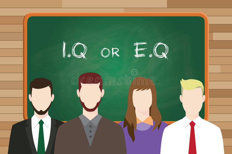 Iq or eq intellectual or vs emotional question compare write on the board in front of business man and business woman royalty free illustration