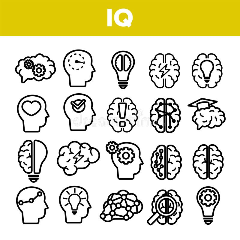 IQ, Intellect Linear Vector Icons Set Thin Pictogram vector illustration