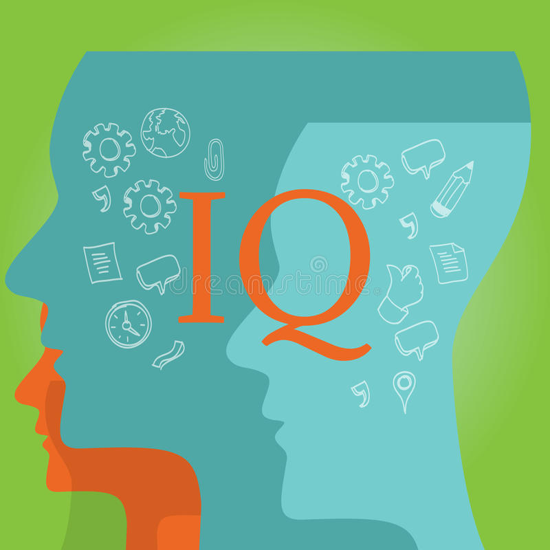 IQ intellectual quotient intelligence. Vector drawing illustration concept royalty free illustration
