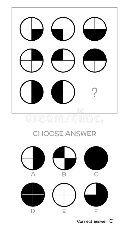 IQ test. Choose answer. IQ test. Choose correct answer. Logical tasks composed of geometric shapes. Vector illustration royalty free illustration