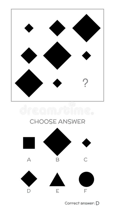 IQ test. Choose correct answer. Logical tasks composed of geometric shapes. Vector illustration royalty free illustration