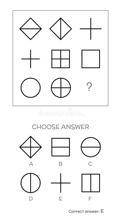 IQ Test  Choose Correct Answer Stock Vector - Illustration of heavy