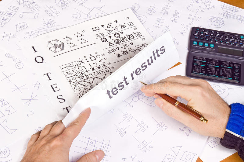 IQ test results stock photo