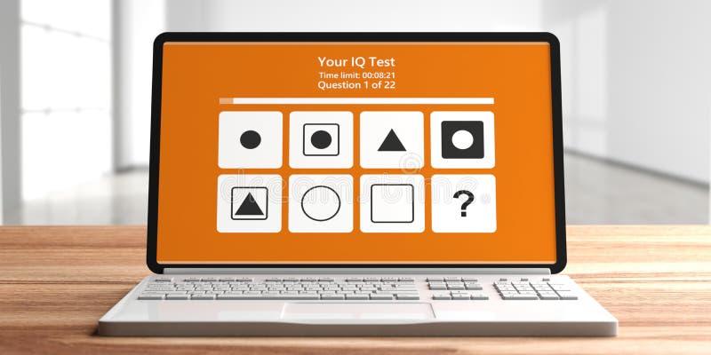 IQ-Testform auf Computerlaptopschirm, verwischen leeren Raumhintergrund Abbildung 3D vektor abbildung