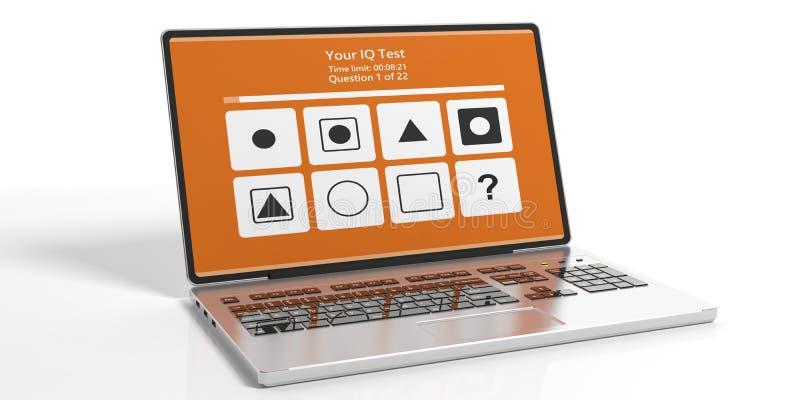 IQ-Testform auf dem Computerlaptopschirm lokalisiert gegen wei?en Hintergrund Abbildung 3D stock abbildung