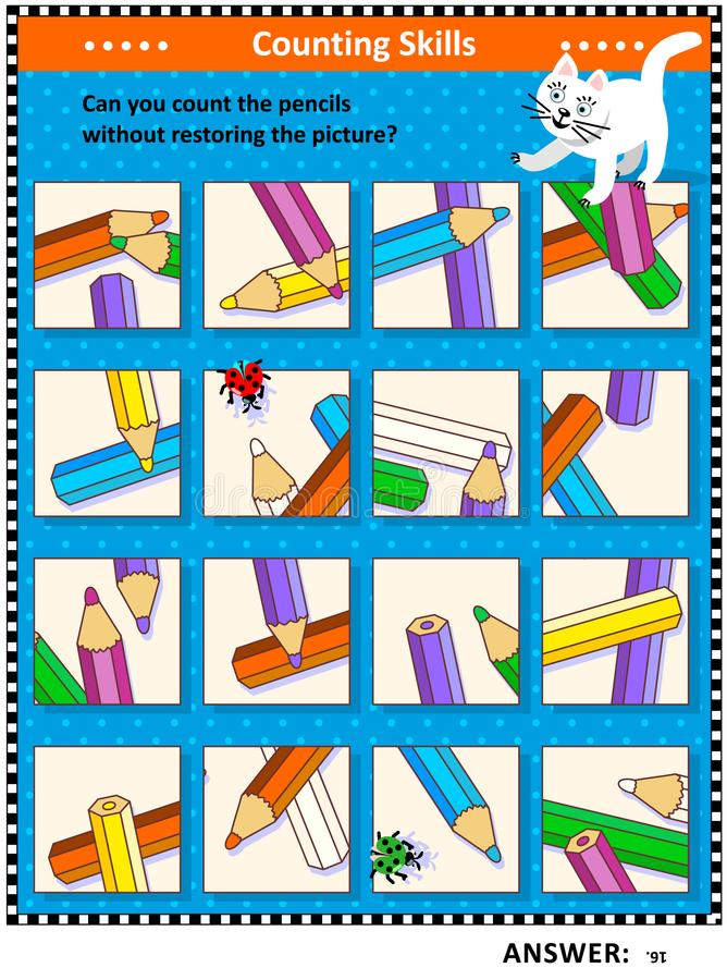 Counting pencils visual logic puzzle. IQ training visual puzzle suitable both for kids and adults: Can you count the pencils without assembling the picture royalty free illustration