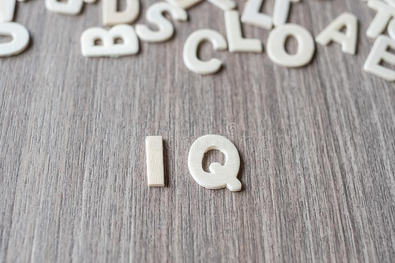 IQ word of wooden alphabet letters. Business and Idea. Concept stock images