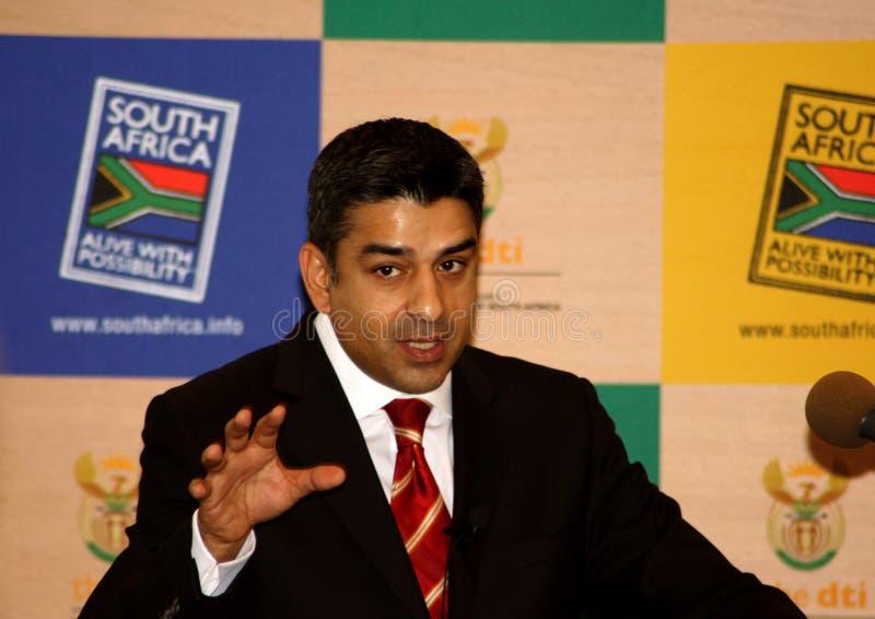 Iqbal Sharma van DTI, Zuid-Afrika stock foto's