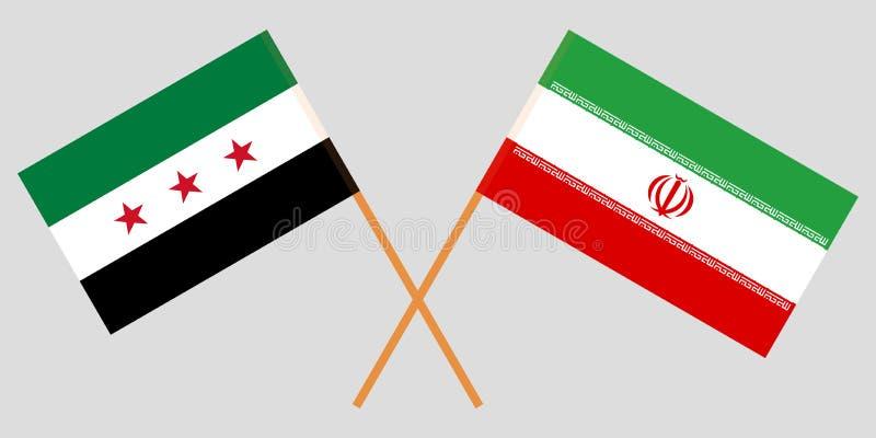 Irán y gobierno provisional de Siria Las banderas del iraní y de la coalición Colores oficiales Proporci?n correcta Vector stock de ilustración