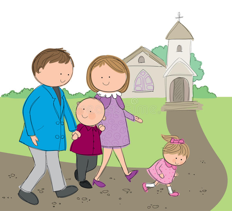 Ir à igreja ilustração do vetor