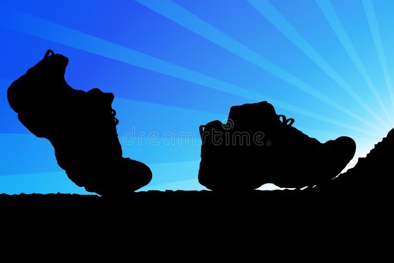 Ir de excursión los zapatos ilustración del vector