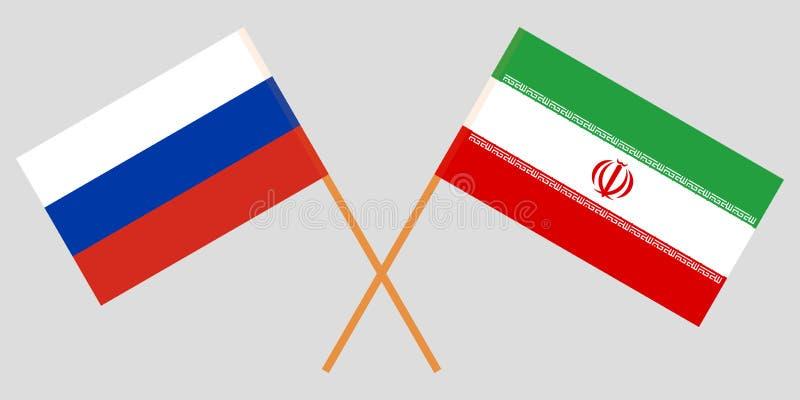 Ir? e R?ssia As bandeiras do iraniano e do russo Cores oficiais Propor??o correta Vetor ilustração stock