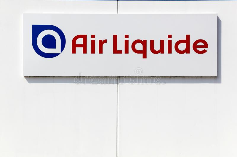 Ir Liquide logo on a wall. Kamen, Germany - July 22, 2018: Air Liquide logo on a wall. Air Liquide is a french multinational company which supplies industrial royalty free stock photo