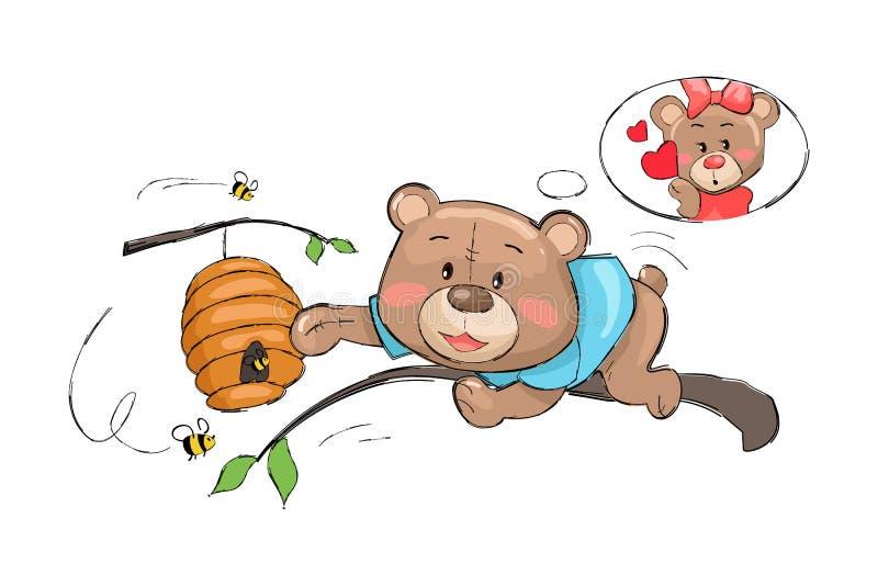 Ir masculino do urso toma o mel da colmeia completamente das abelhas ilustração do vetor