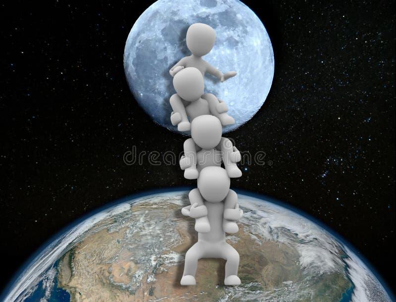 Ir para trás à metáfora da lua ilustração do vetor