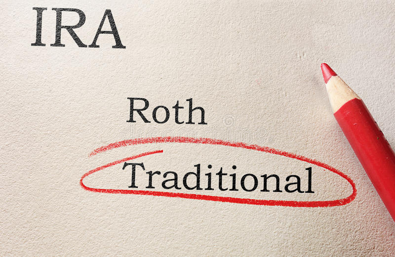 IRA choices circled. Red circle and pencil with Roth and Traditional IRA text royalty free stock photo