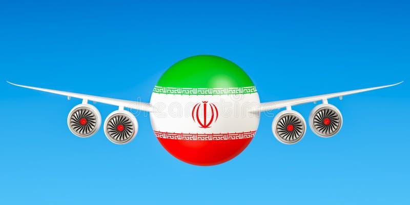 Iraanse luchtvaartlijnen en flying& x27; s concept 3d stock illustratie