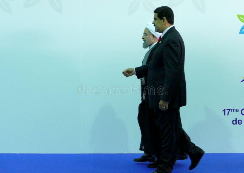 Iraanse President Hasan Rouhani en Venezolaanse President Nicolas Maduro royalty-vrije stock afbeeldingen