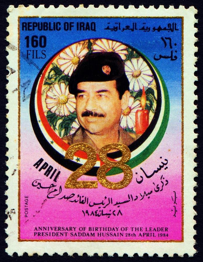 IRAK - OKOŁO 1984: Znaczek drukujący w przedstawieniach Saddam Hussein, zdjęcie royalty free