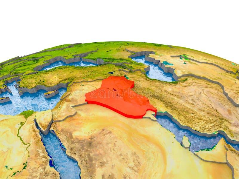 Irak på modell av jord arkivbild