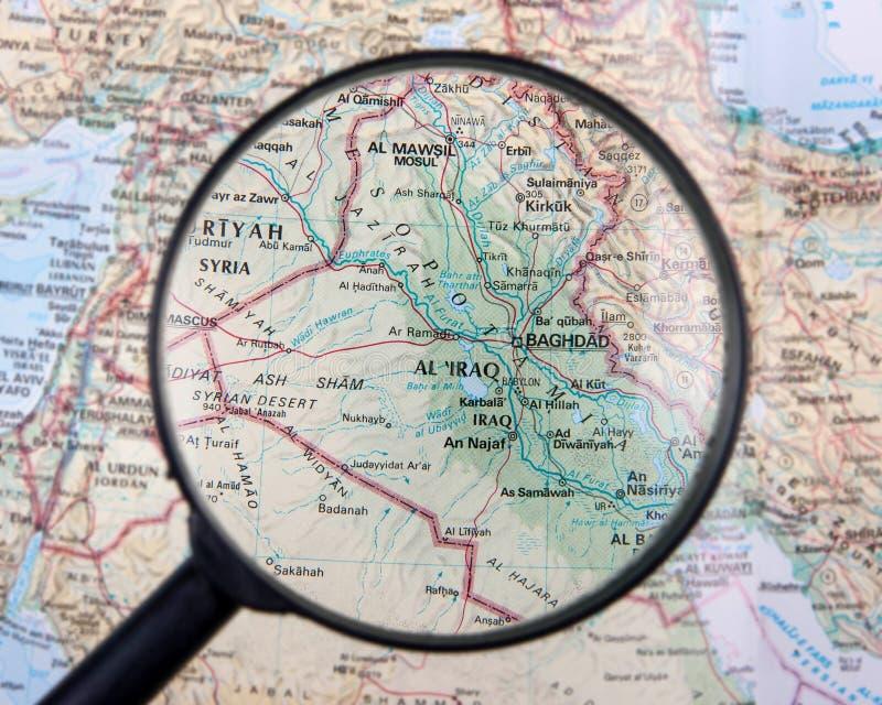 Irak pod magnifier obraz stock