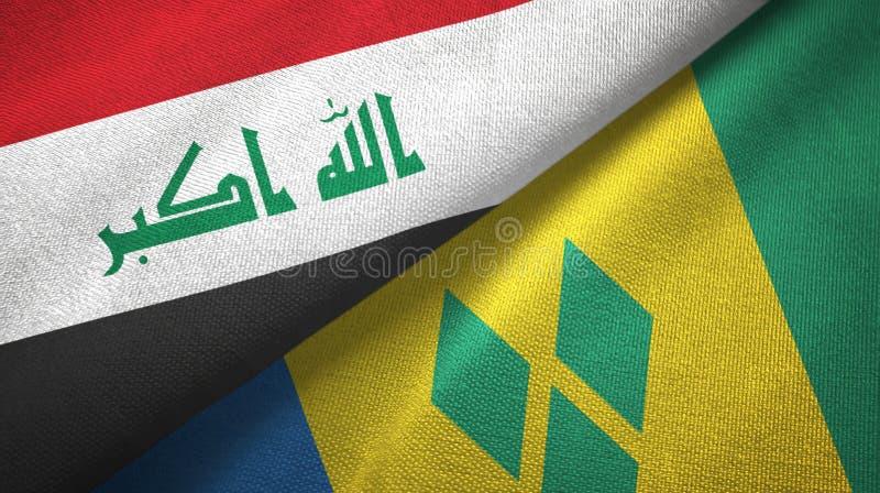 Irak- und Grenadinen-zwei Flaggentextilstoff lizenzfreie abbildung