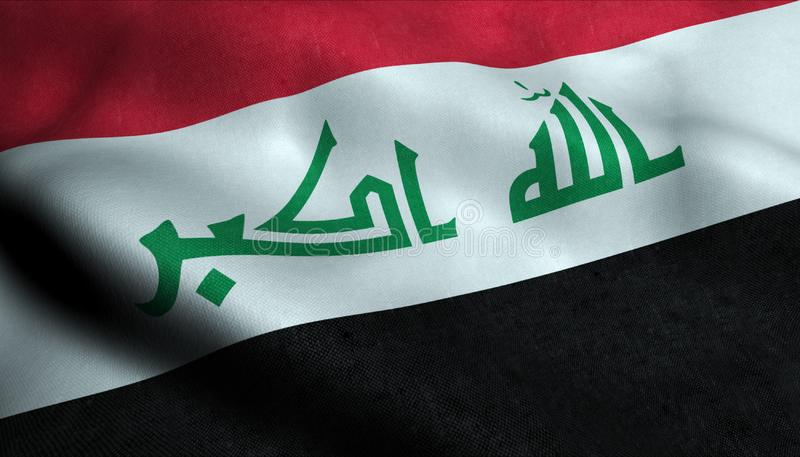 Irak vinkande flagga i 3D royaltyfri illustrationer