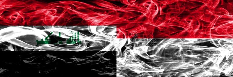 Irak vs Monaco färgrik begreppsrök sjunker den förlade sidan - förbi - sidan vektor illustrationer