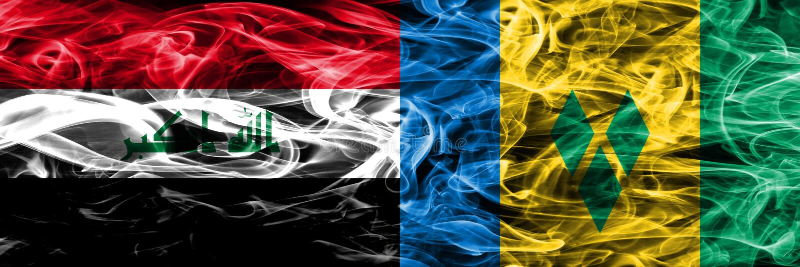 Irak vs Saint Vincent och Grenadinerna färgrik begreppsrök sjunker den förlade sidan - förbi - sidan stock illustrationer