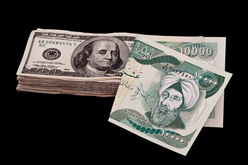 irakiska dinars royaltyfria bilder