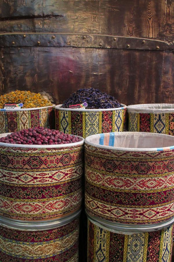 Tabriz, Iran - 16 July 2017: Spices in the great bazaar of Tabriz in Iran biggest market of the world and  containers royalty free stock photography