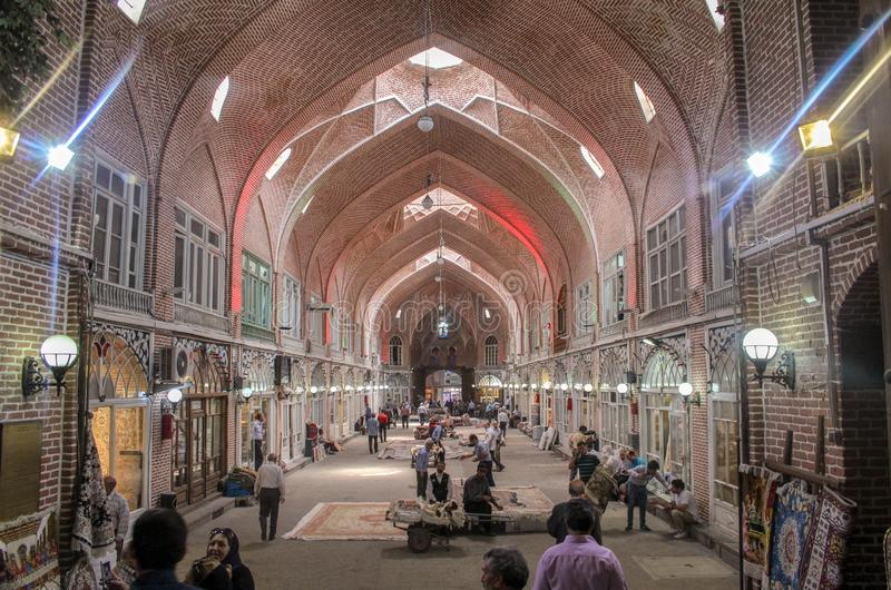 Tabriz, Iran - 10 July 2017: The biggest market of the world in Tabriz, full of people buying in the muslim stores. arabic bazaar stock image