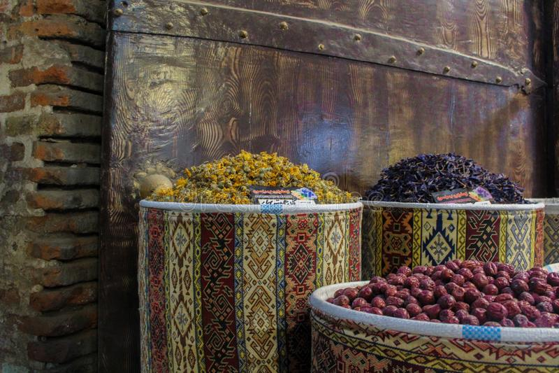 Tabriz, Iran - 16 July 2017: Spices in the great bazaar of Tabriz in Iran biggest market of the world and  containers stock image