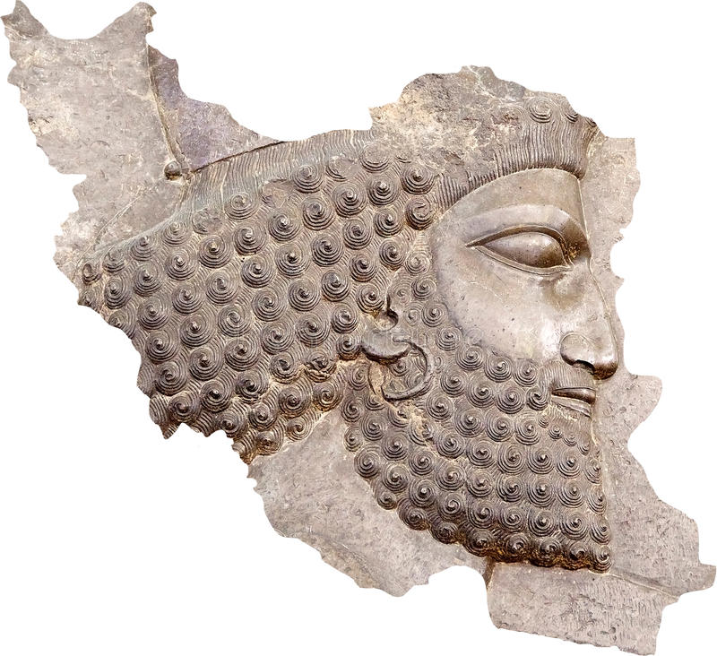 Iran. Ancient persian soldier, relief from Persepolis, with the shape of Iran map. Persepolis was the capital of the Achaemenid Empire, 550-330 BC. It is the stock photo