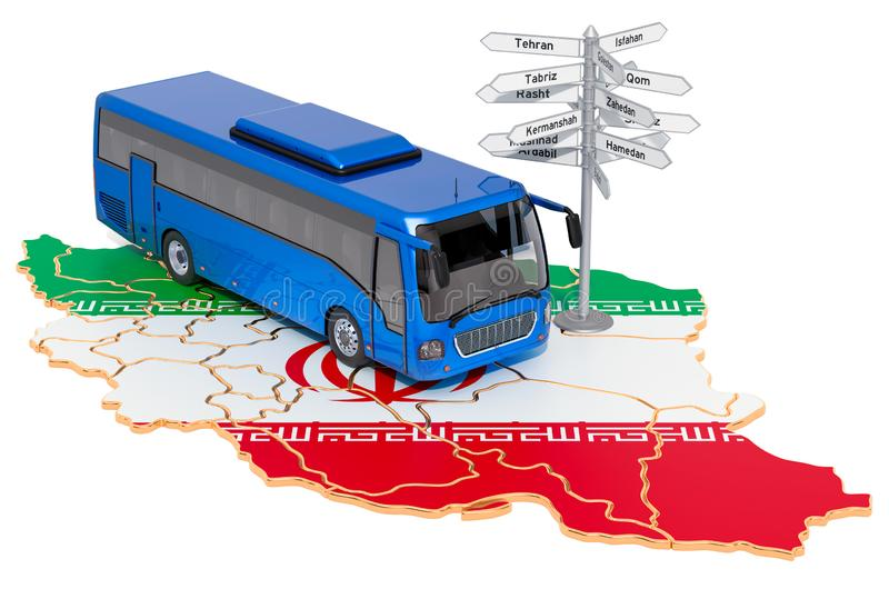 Iran Bus Tours concept. 3D rendering. Isolated on white background vector illustration