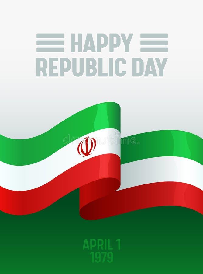 Iran dnia niepodległości sztandaru szablon z flagą państowową Irański Szczęśliwy republika dnia tło dla ulotki, plakat royalty ilustracja