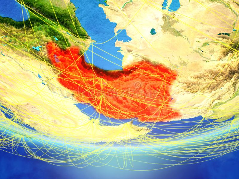 Iran on Earth with network. Iran on model of planet Earth with network representing travel and communication. 3D illustration. Elements of this image furnished vector illustration
