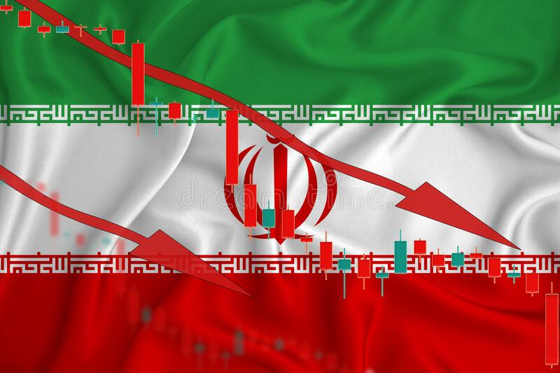 Iran flag, the fall of the currency against the background of the flag and stock price fluctuations. Crisis concept with falling. Stock prices of companies royalty free stock images