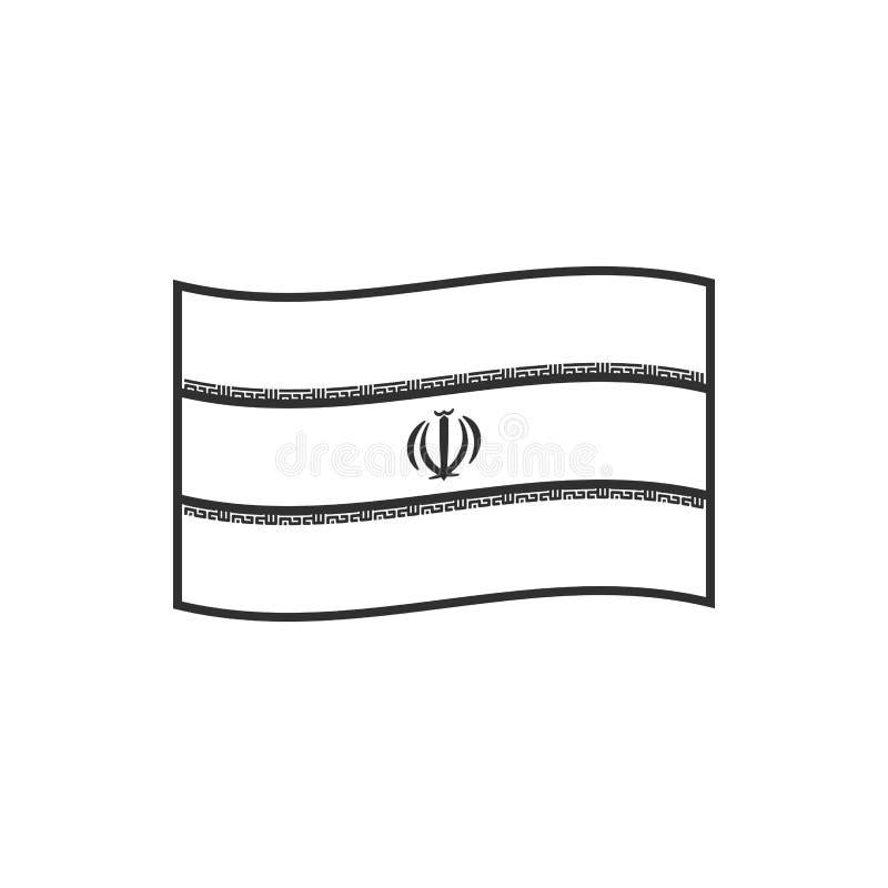 Iran flag icon in black outline flat design stock illustration