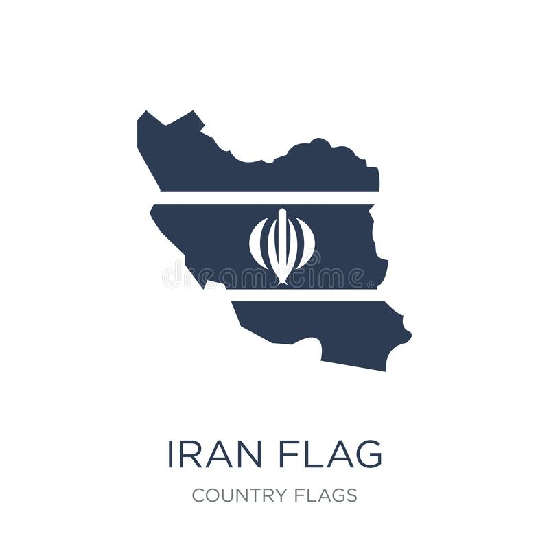 Iran flag icon. Trendy flat vector Iran flag icon on white background from Country Flags collection stock illustration