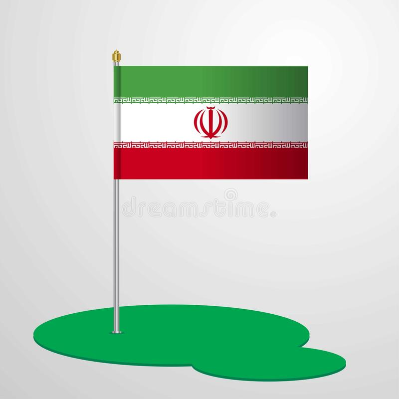 Iran Flag Pole stock illustration