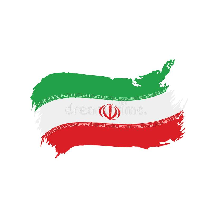 Iran flag, vector illustration. On a white background royalty free illustration