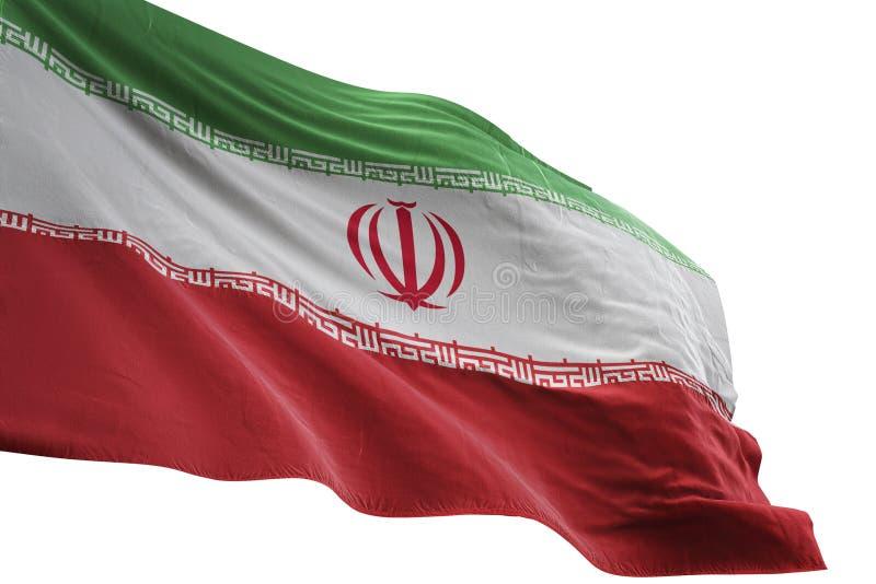 Iran flaga państowowa falowanie odizolowywający na białej tła 3d ilustraci royalty ilustracja