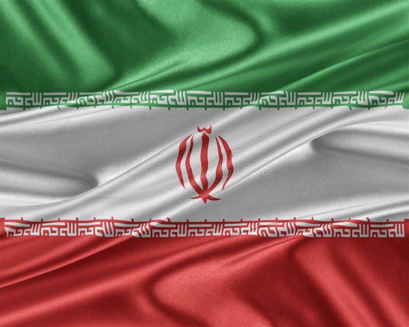 Iran flaga z glansowaną jedwabniczą teksturą ilustracja wektor