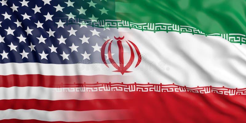 Iran i USA Ameryka związek Flaga państowowa tła tekstura ilustracja 3 d ilustracji
