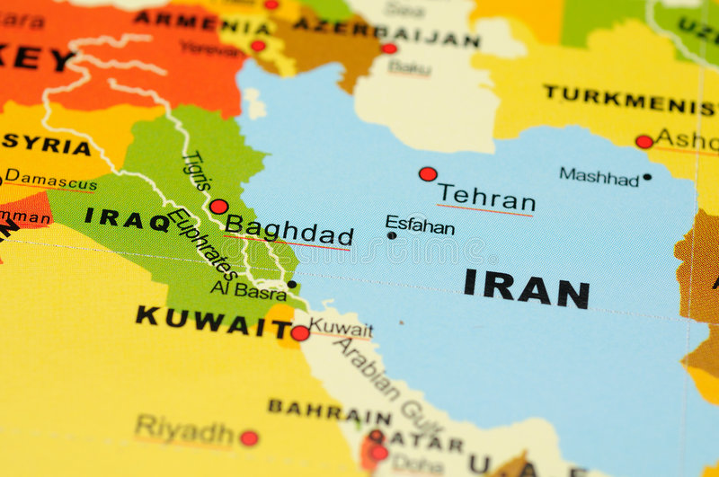 close up of iran and iraq on map